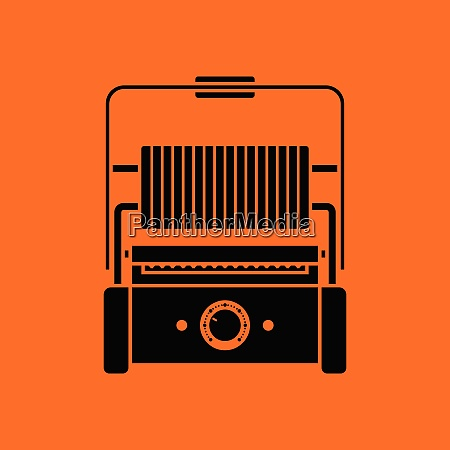 kitchen electric grill icon orange background