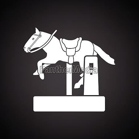 horse machine icon black background with
