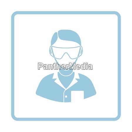 icon of chemist in eyewear white
