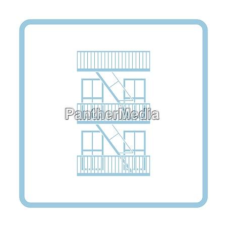 emergency fire ladder icon blue frame