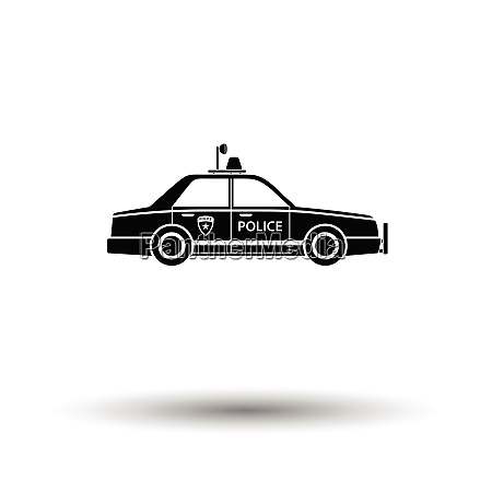 police car icon white background with