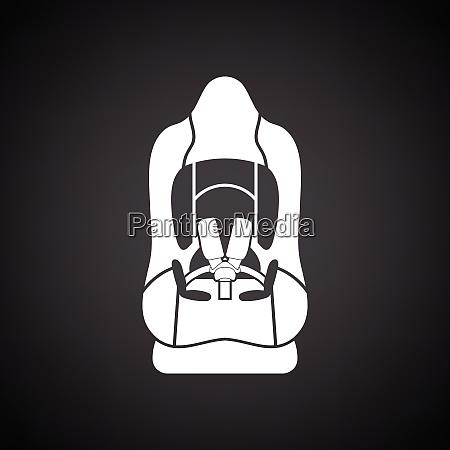 baby car seat icon black background