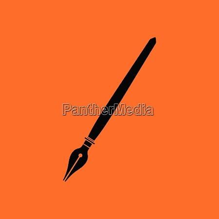 fountain pen icon orange background with