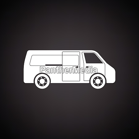 commercial van icon black background with