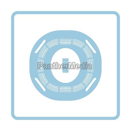 cricket stadium icon blue frame design