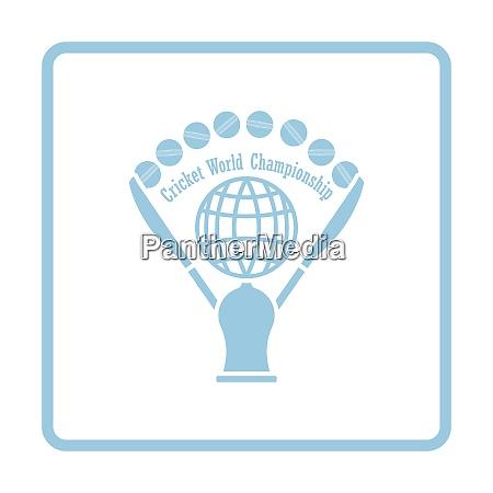 cricket cup icon blue frame design