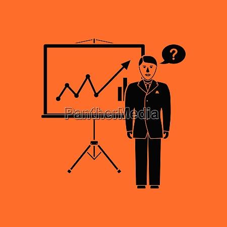 clerk near analytics stand icon orange