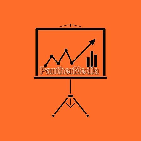 analytics stand icon orange background with
