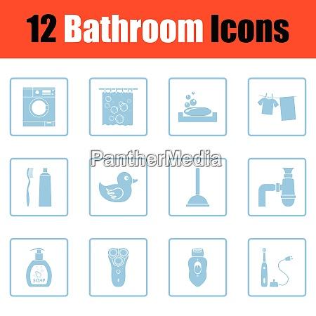 bathroom icon set blue frame design