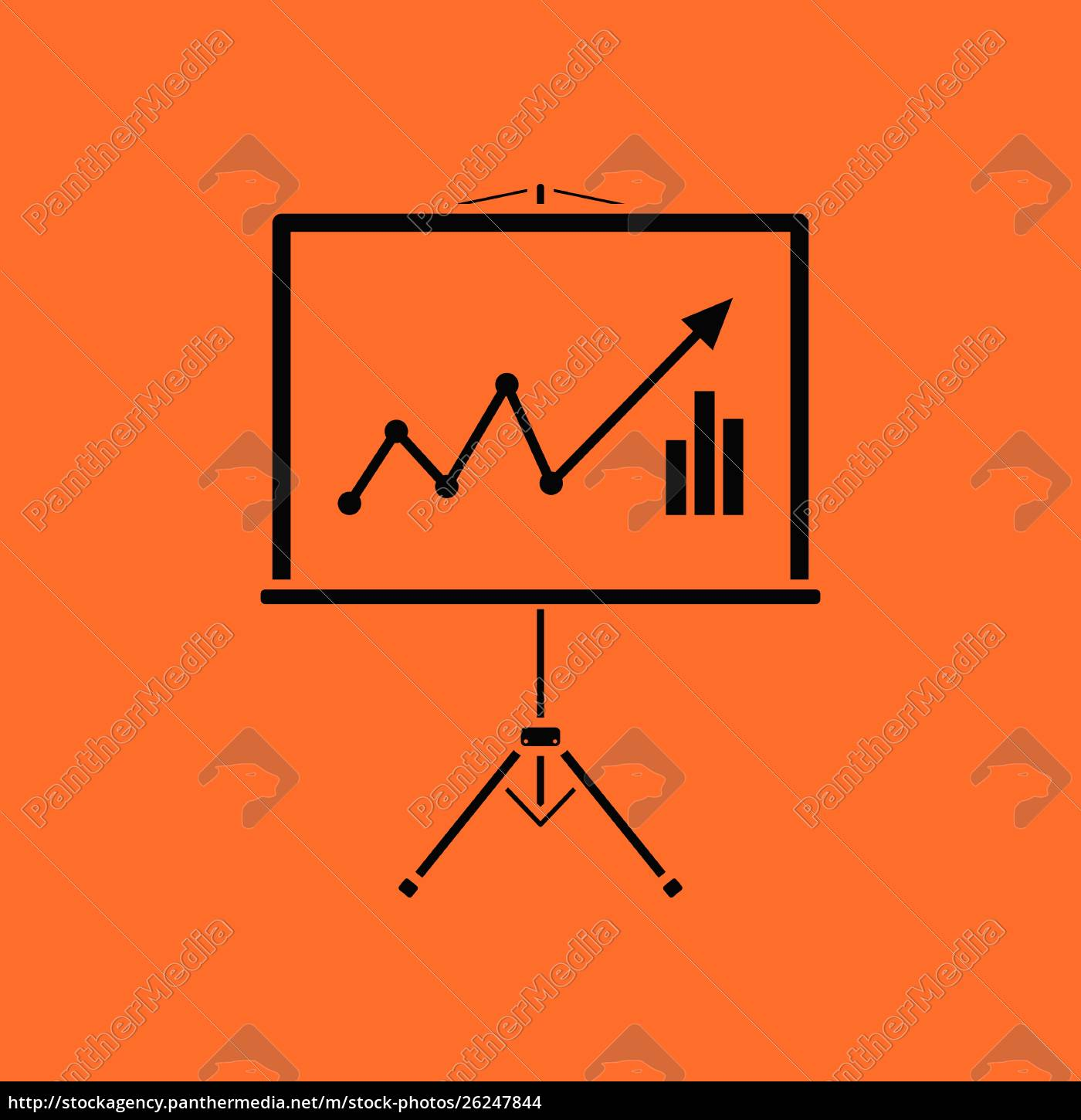 analytics, stand, icon., orange, background, with - 26247844