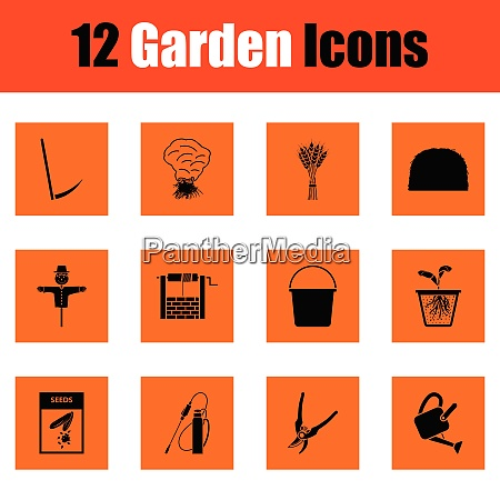 set of gardening icons set of