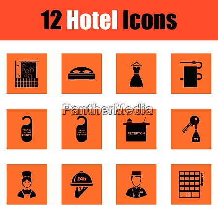 set of twelve hotel icons set