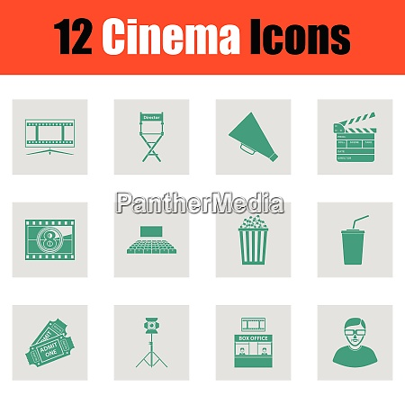 set of cinema icons set of