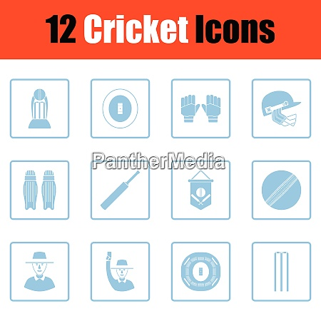 cricket icon set blue frame design