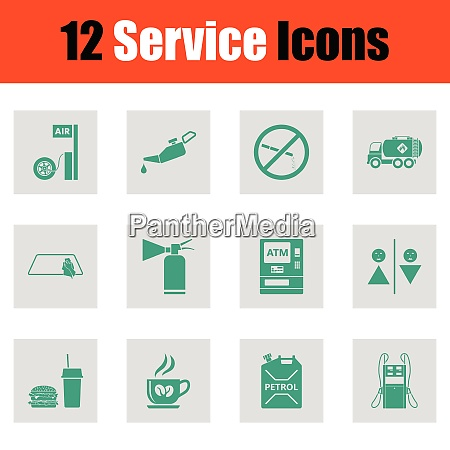 set of twelve petrol station icons