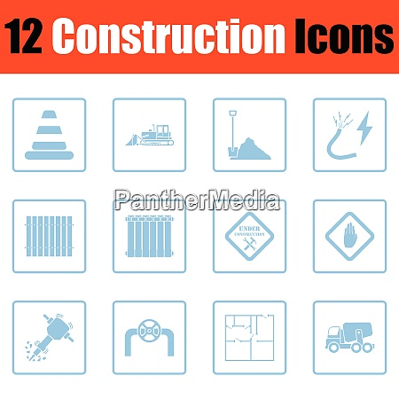 construction icon set blue frame design