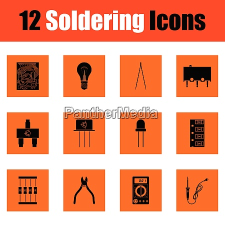 set of soldering icons set