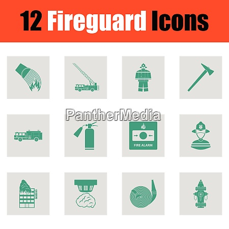set of fire service icons green