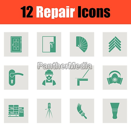 set of flat repair icons set