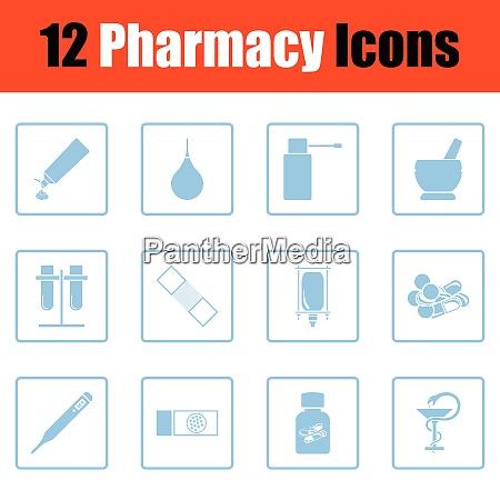 set of twelve pharmacy icons blue