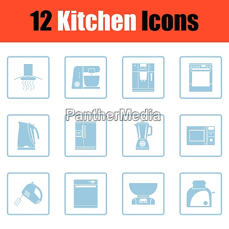kitchen icon set blue frame design