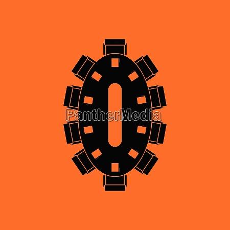 negotiating table icon orange background with