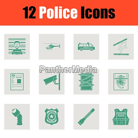 set of police icons green on