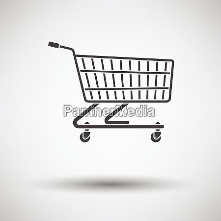 supermarket shopping cart icon on gray
