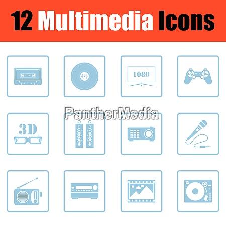 set of multimedia icons set of