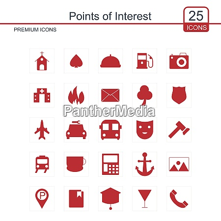 point of interest icons set for