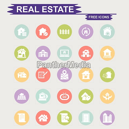 real estate icons set vector for
