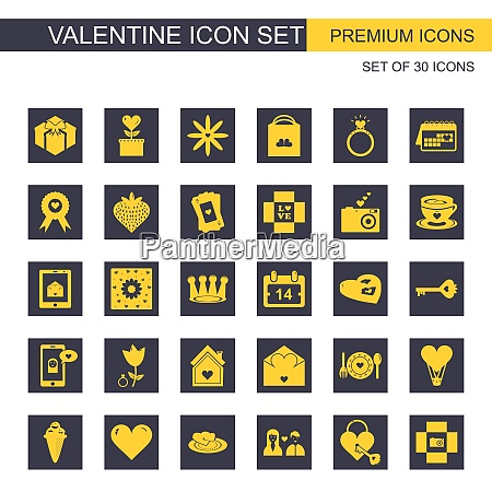 valentinersquos icons set vector for web