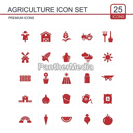 agriculture icons set vector for web