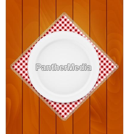 white eppty plate on kitchen napkin