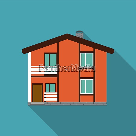 flat house icon with long shadow
