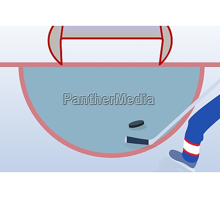 ice hockey player with stick and