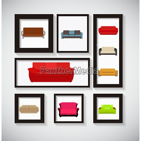 abstract gallery background with sofa icon