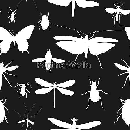 silhouettes set of beetles dragonflies and
