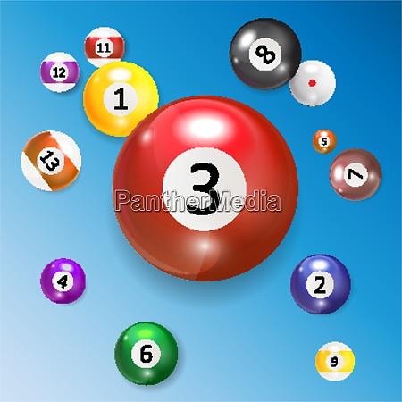 ivories billiard balls set vector illustration