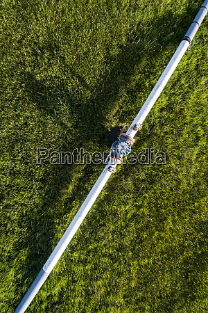 aerial view of a pipeline with