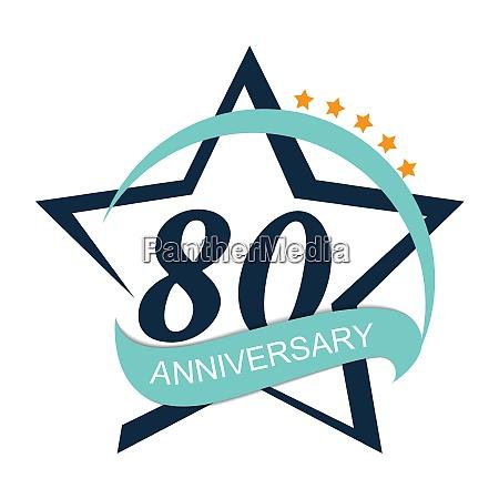 template logo 80 anniversary vector illustration