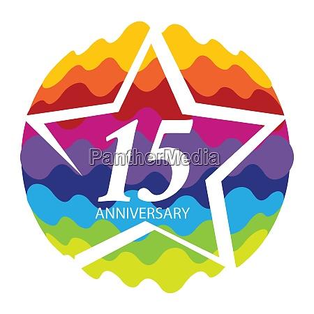 template logo 15 anniversary vector illustration
