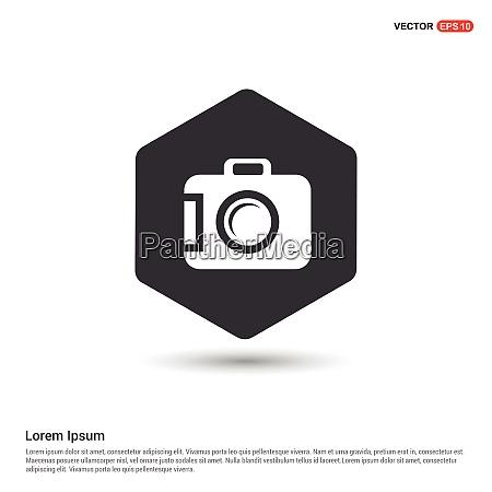 camera icon hexa white background icon