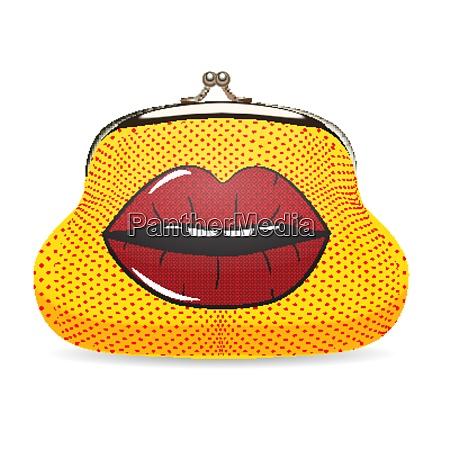 female wallet in pop art style