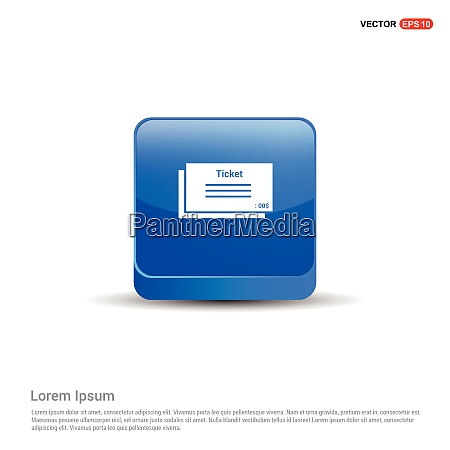 ticket icon 3d blue button
