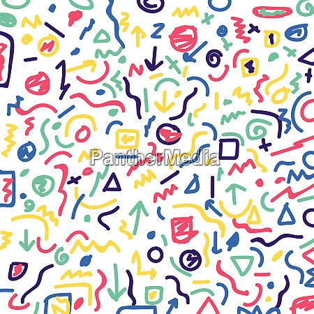 hand drawn colorful geometric border pattern