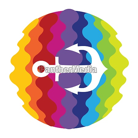 sea anchor rainbow color icon for