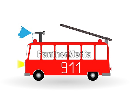 painted cartoon fire engine red with