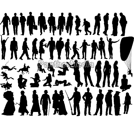 big vector collection of different silhouettes