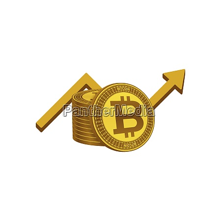 bitcoins stack and growth symbol